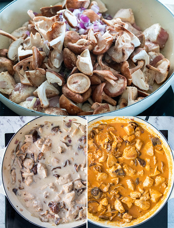 3 photos showing the process of making curry