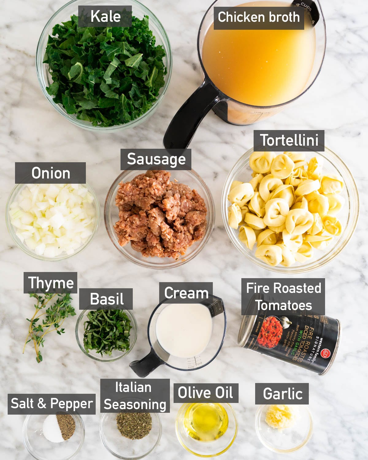 ingredients used to make creamy tortellini soup with sausage