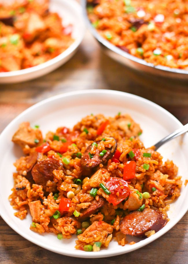 a plate of cajun chicken sausage rice