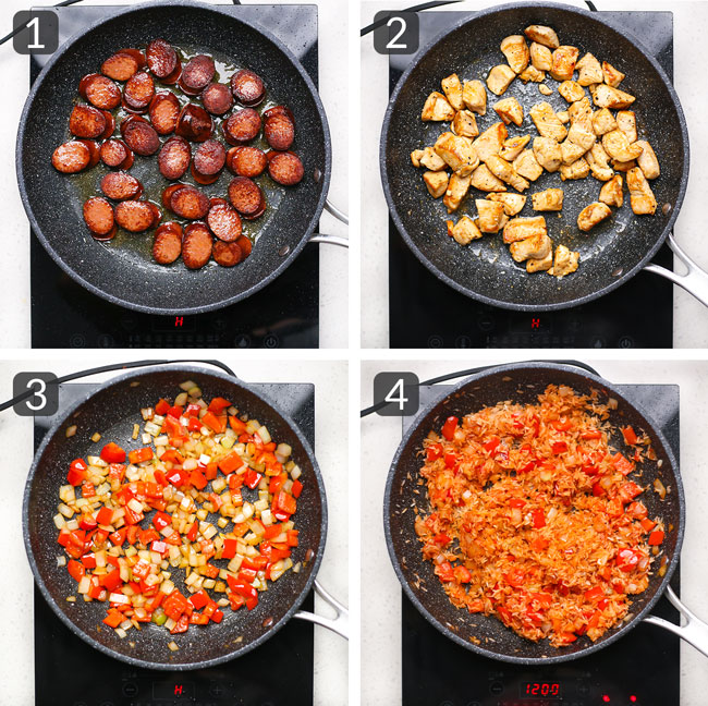 step pictures for making skillet cajun chicken sausage rice