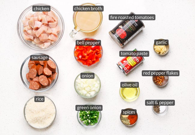 skillet chicken sausage rice ingredients