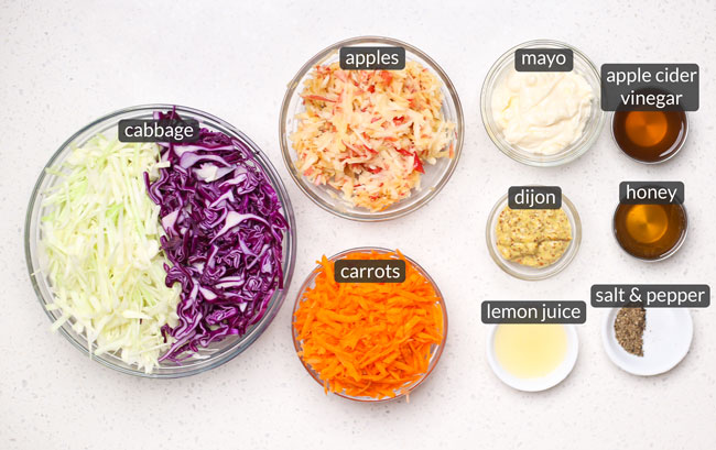 ingredients to make easy apple coleslaw