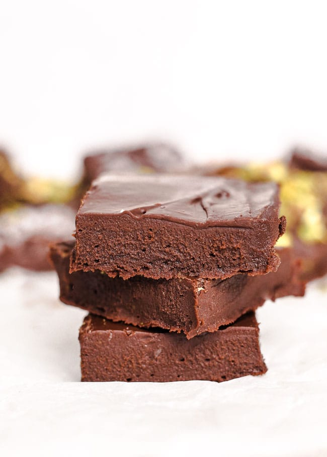 pieces of 3 ingredient fudge stacked