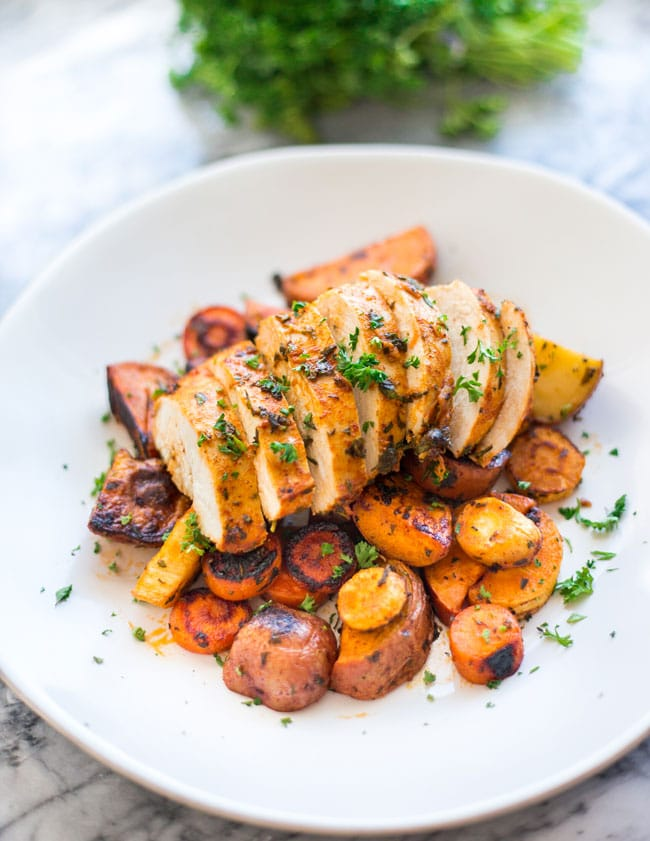 One Pan Herb Roasted Chicken and Vegetables on a plate