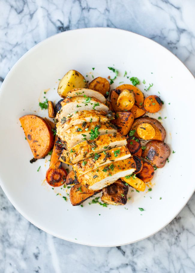 overhead shot of roasted chicken and vegetables on a plate