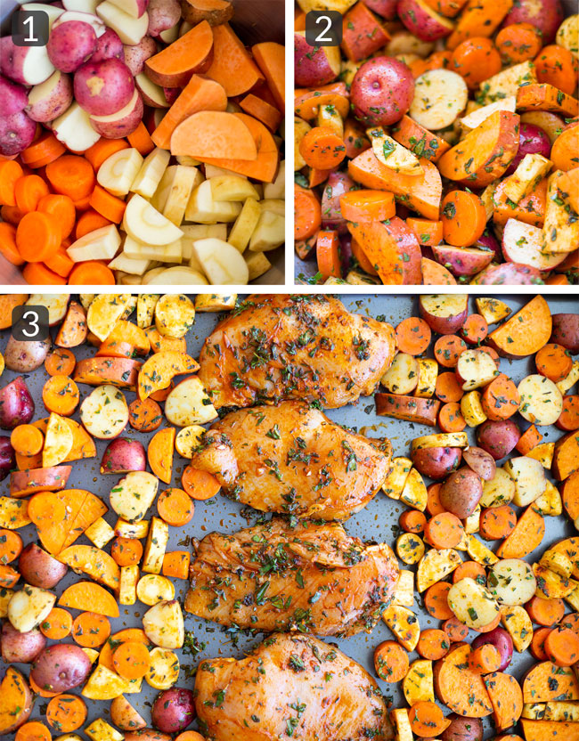 process photos for making One Pan Herb Roasted Chicken and Vegetables