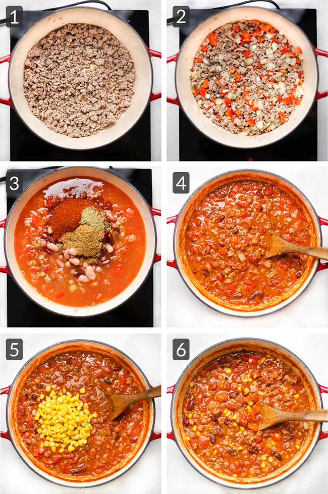 step pictures of making turkey chili