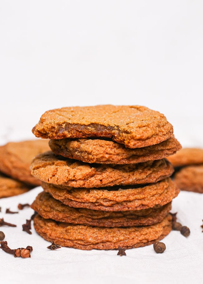 a stack of chewy gingersnap cookies