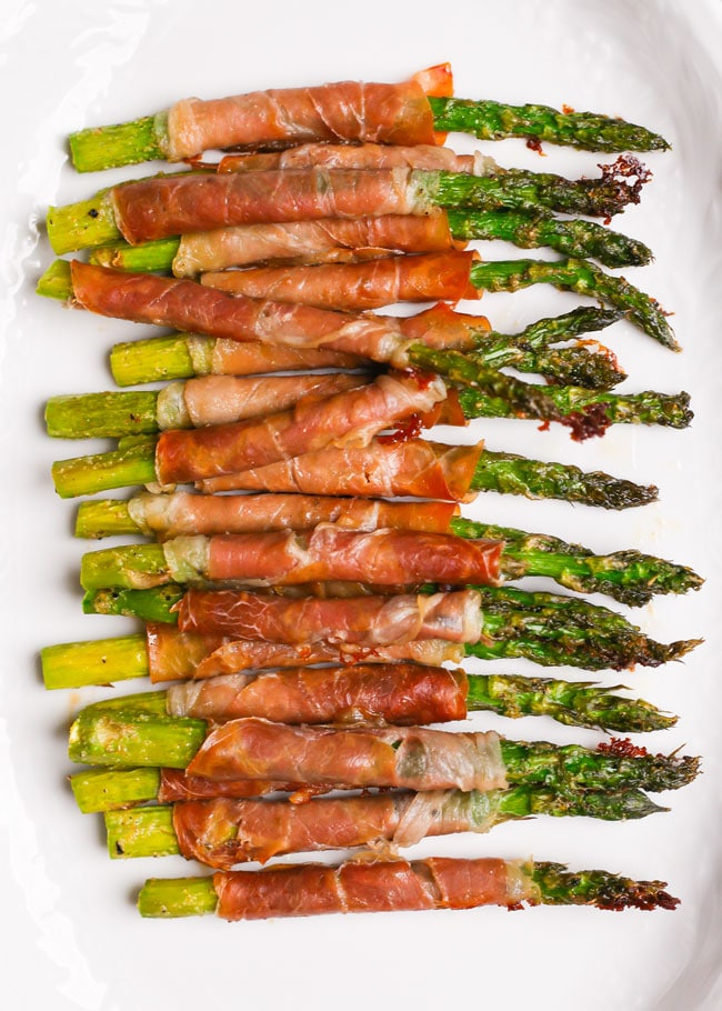 overhead photo of a platter of asparagus
