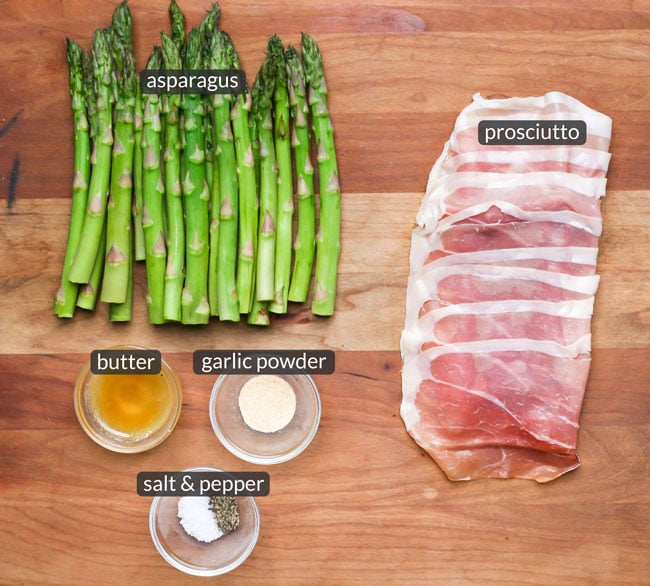 ingredients in prosciutto wrapped asparagus