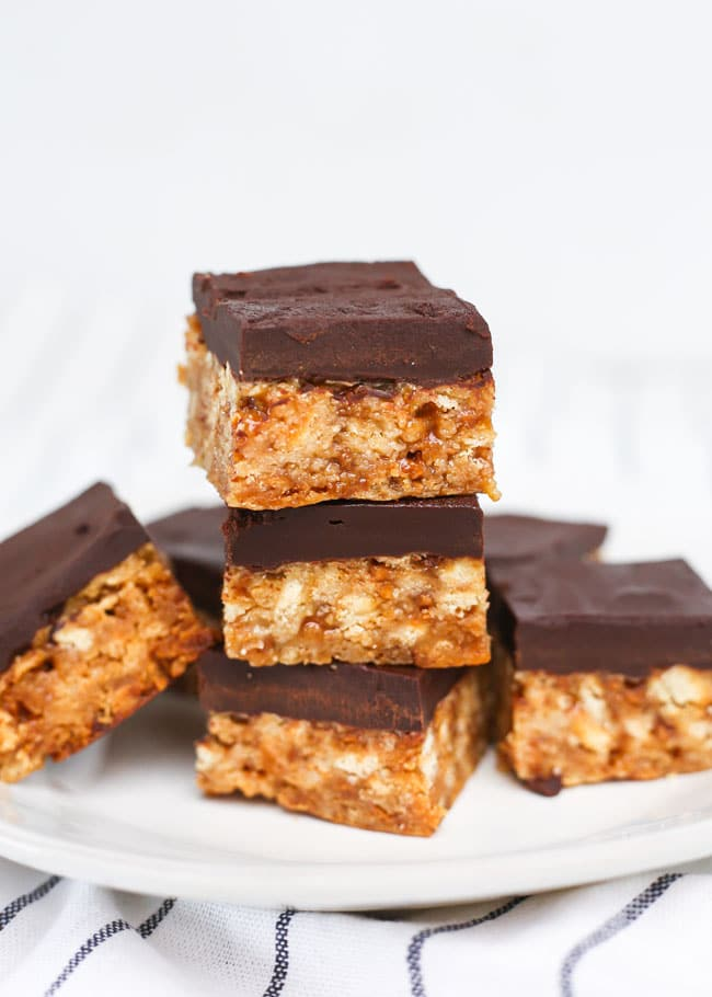 skor bars topped with chocolate in a stack