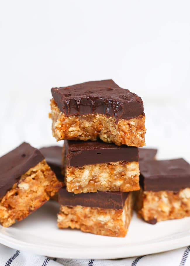 skor bars with a bite taken from one