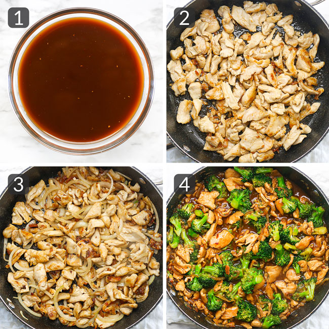 step photos showing how to make chicken broccoli stir fry