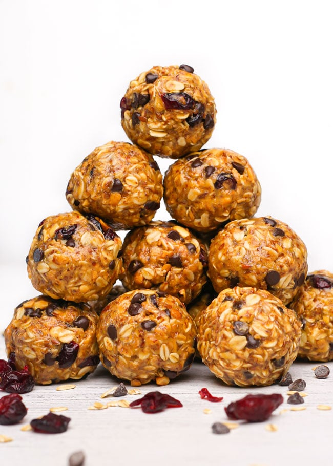 a stack of no bake oatmeal energy balls