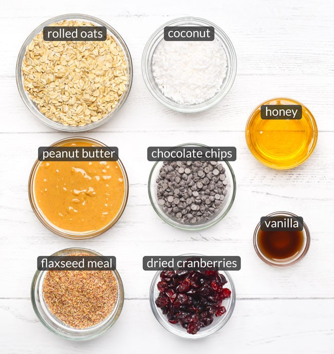 ingredients in no bake oatmeal energy balls