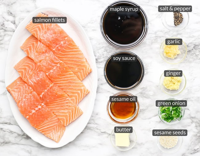 ingredients in maple soy glazed salmon