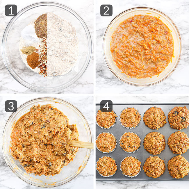 step-by-step photos showing how to make morning glory muffins