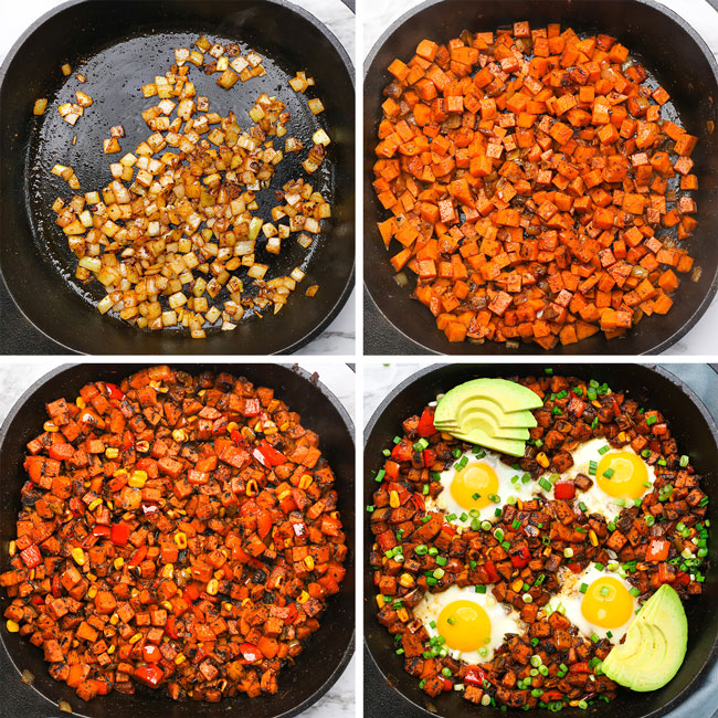 step photos showing how to make sweet potato breakfast hash