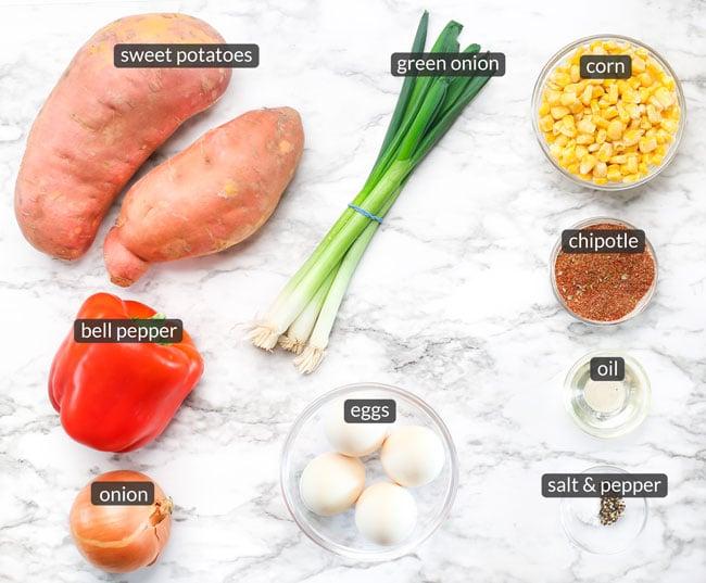 ingredients in sweet potato breakfast hash