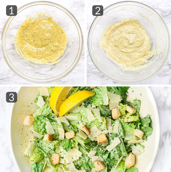 step photos showing how to make classic caesar salad