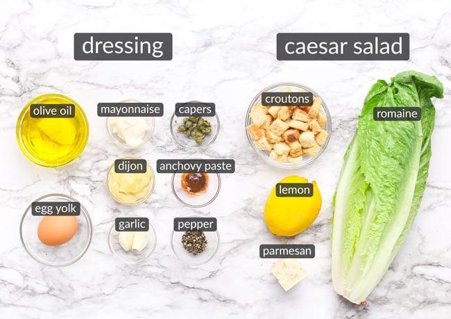 ingredients in classic caesar salad