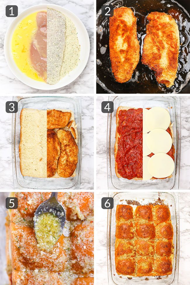 step-by-step photos showing how to make chicken parmesan sliders