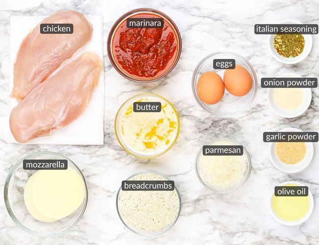 ingredients in chicken parmesan sliders