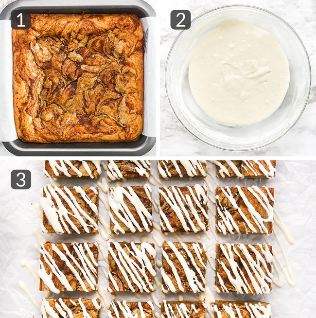 step photos showing how to make cinnamon roll blondies