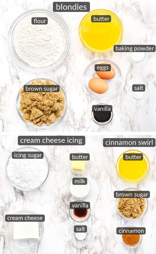 ingredients in cinnamon roll blondies