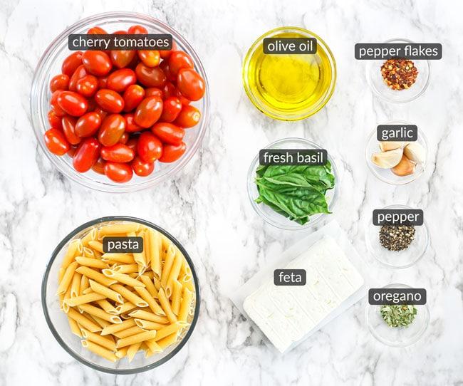 ingredients in baked feta pasta