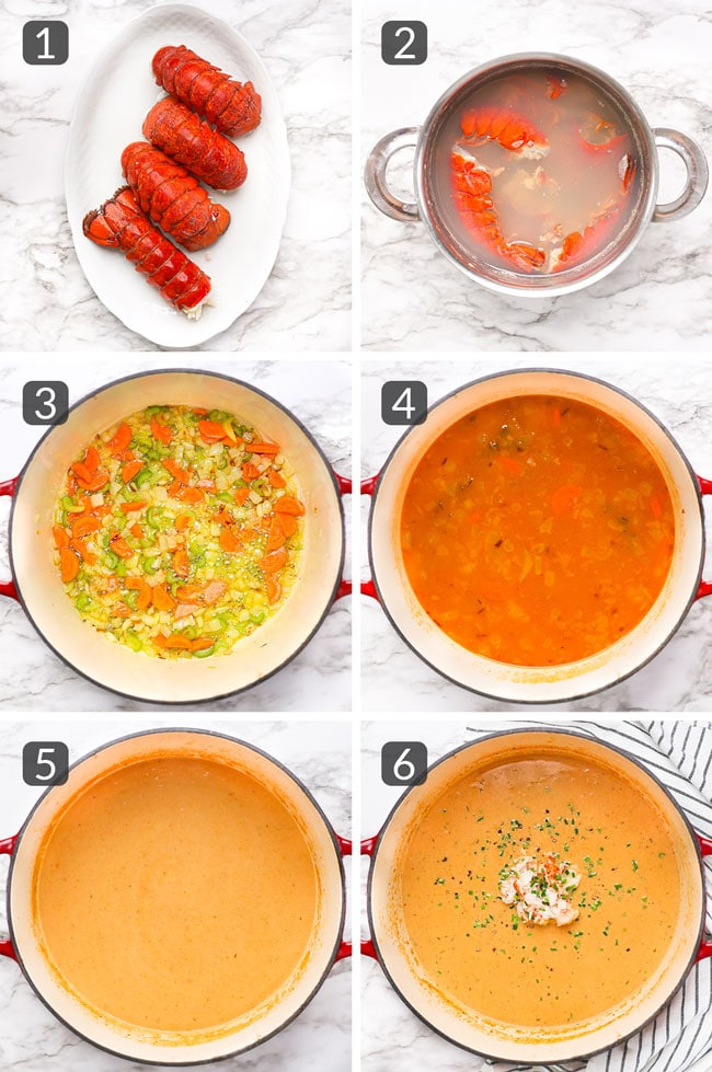 step photos showing how to make lobster bisque
