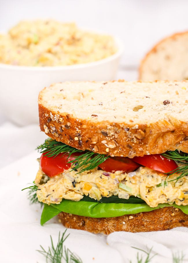 a closeup photo of a no-tuna salad sandwich