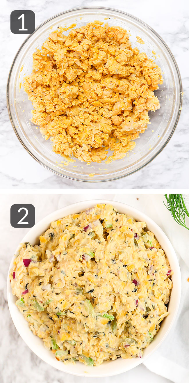 step photos showing how to make no-tuna salad