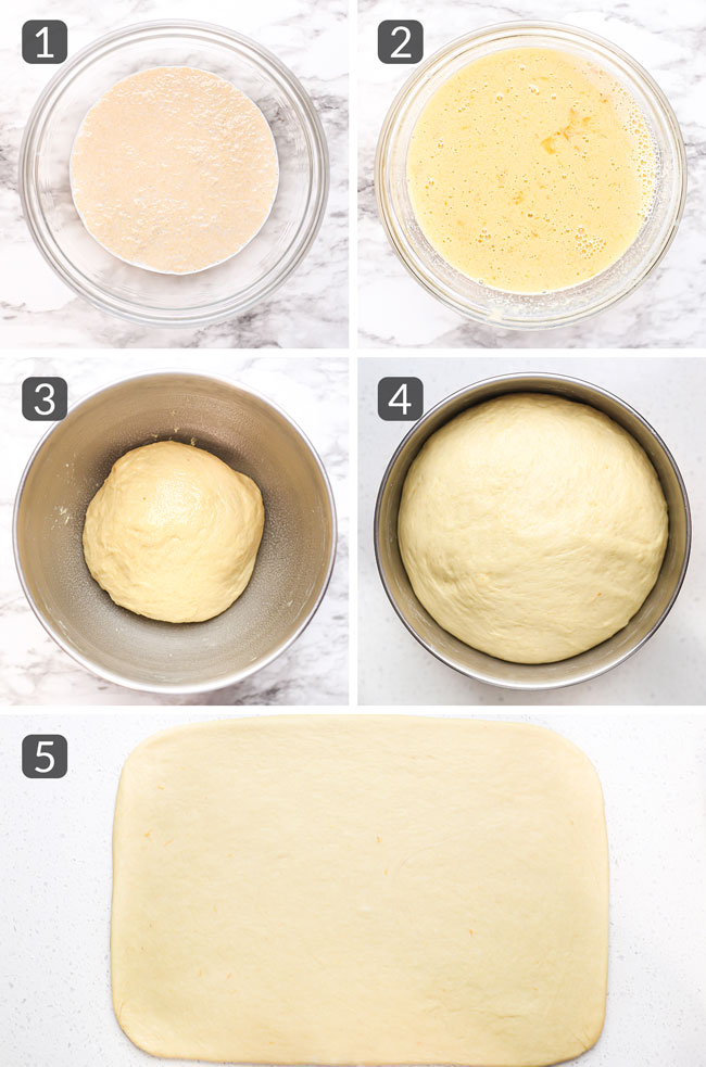 step photos showing how to make the dough for orange rolls