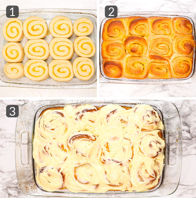 step photos showing how to bake and make cream cheese icing for orange rolls