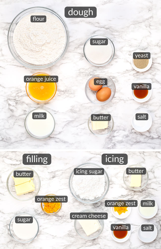 ingredients in orange rolls with cream cheese icing