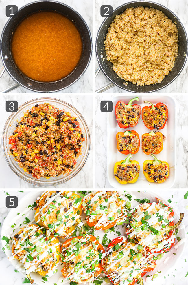 step photos showing how to make quinoa stuffed peppers