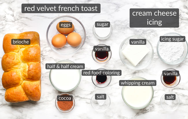 ingredients in red velvet french toast
