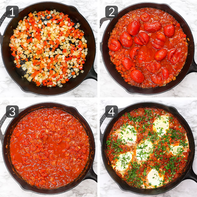 step-by-step photos showing how to make easy shakshuka recipe