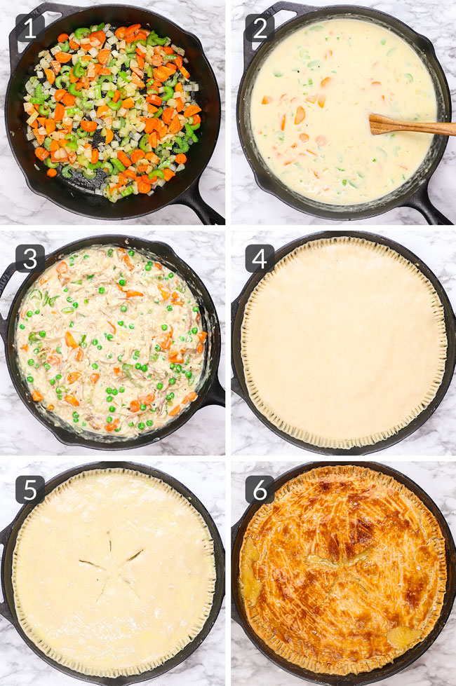 step-by-step photos showing how to make a skillet chicken pot pie