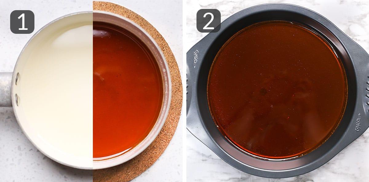 step photos showing how to prepare caramel for homemade flan