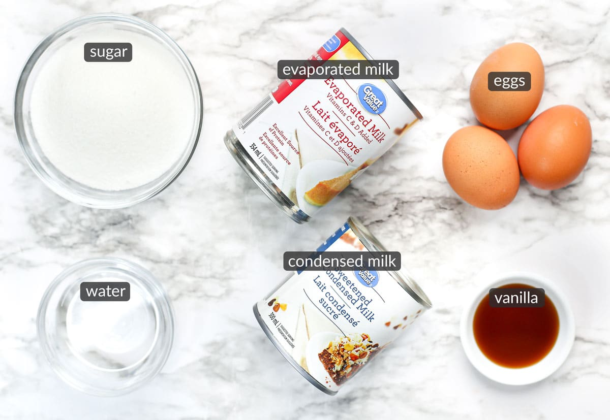 ingredients in homemade flan