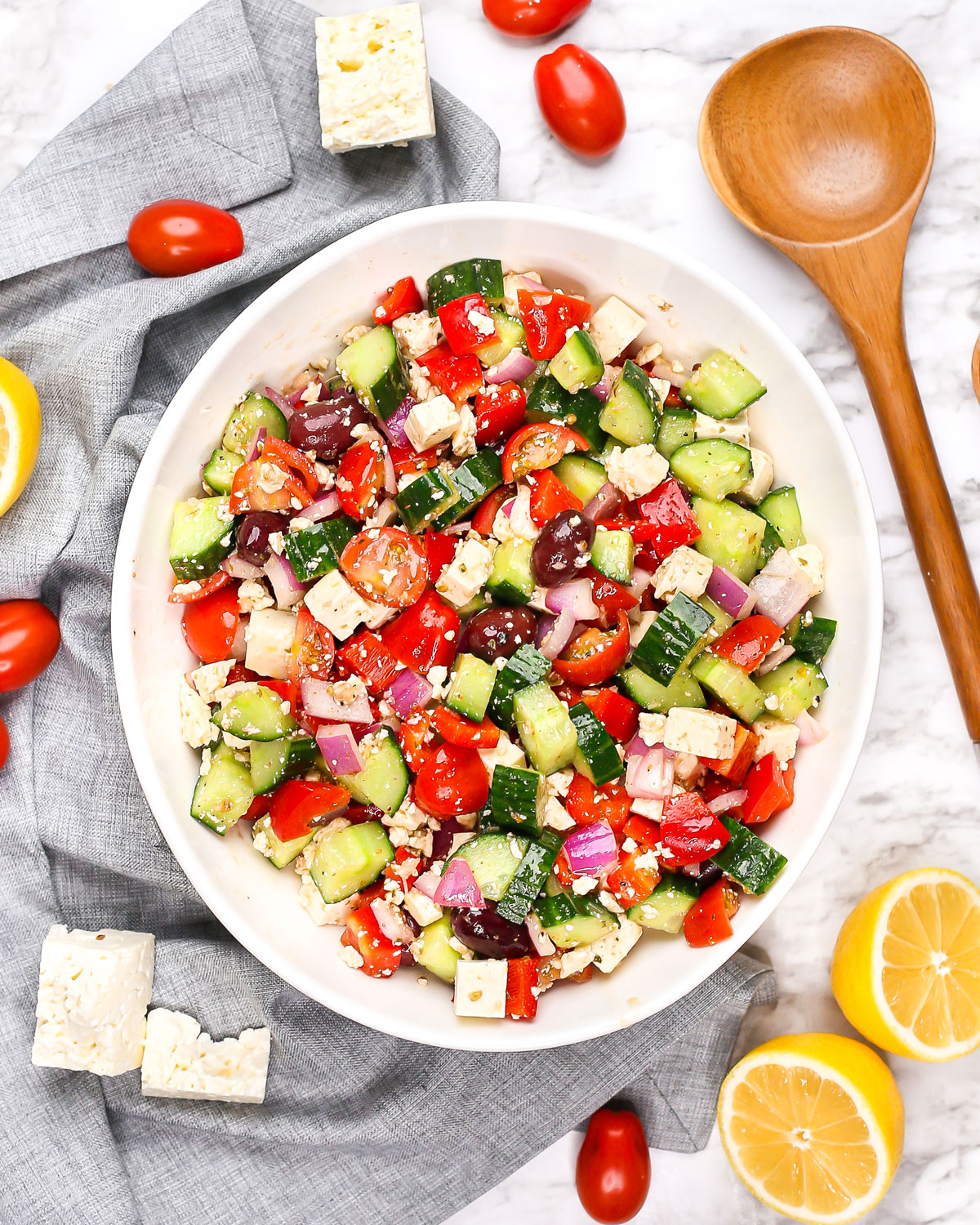 overhead photo of a large salad bowl filled with greek salad