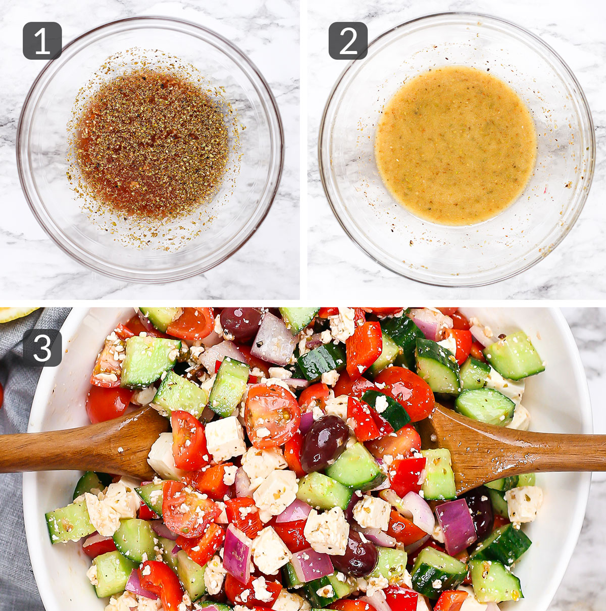 step photos showing how to make greek salad