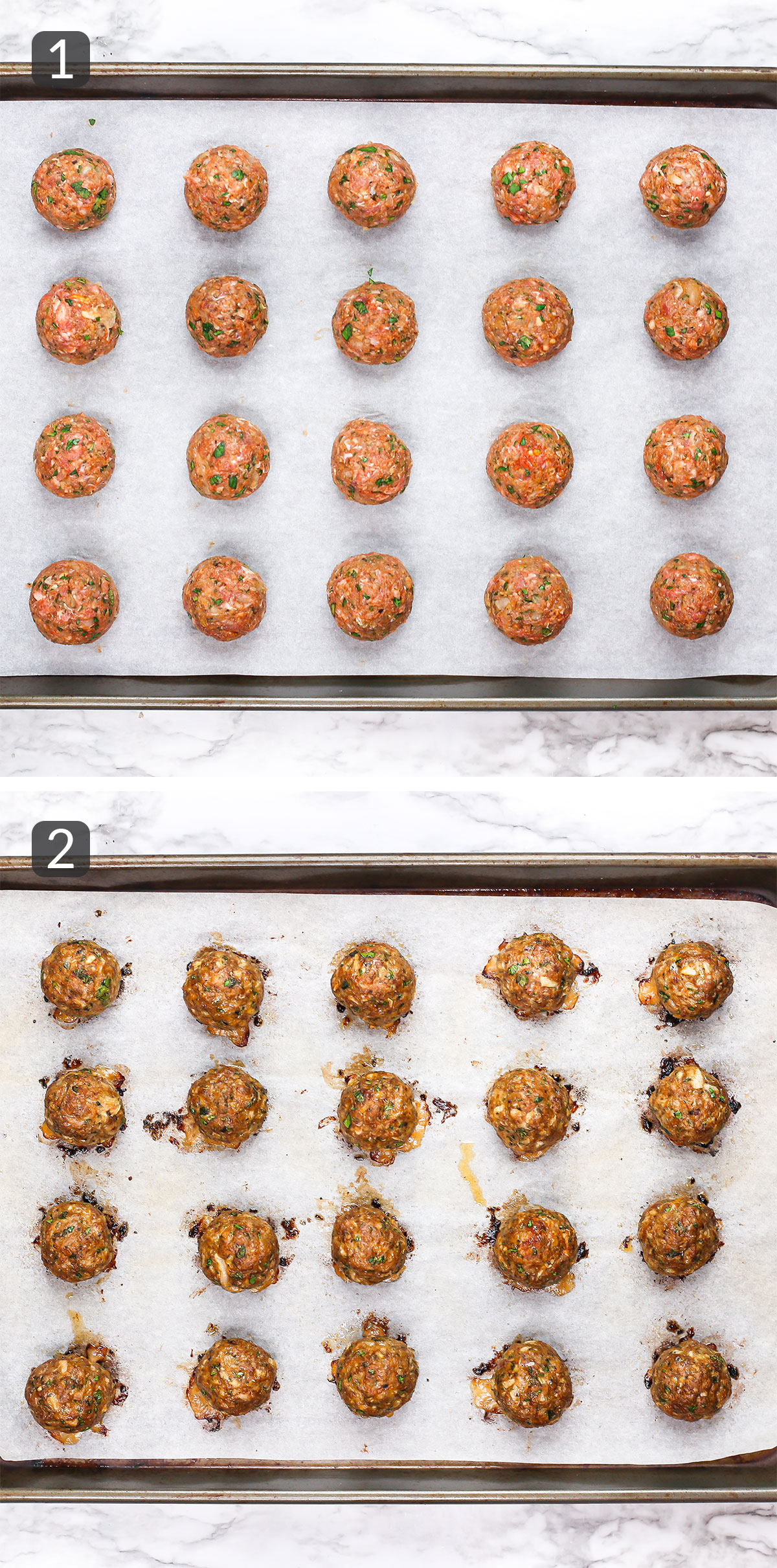 step photos showing how to make mediterranean lamb meatballs