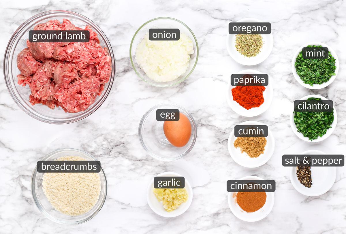 ingredients in mediterranean lamb meatballs