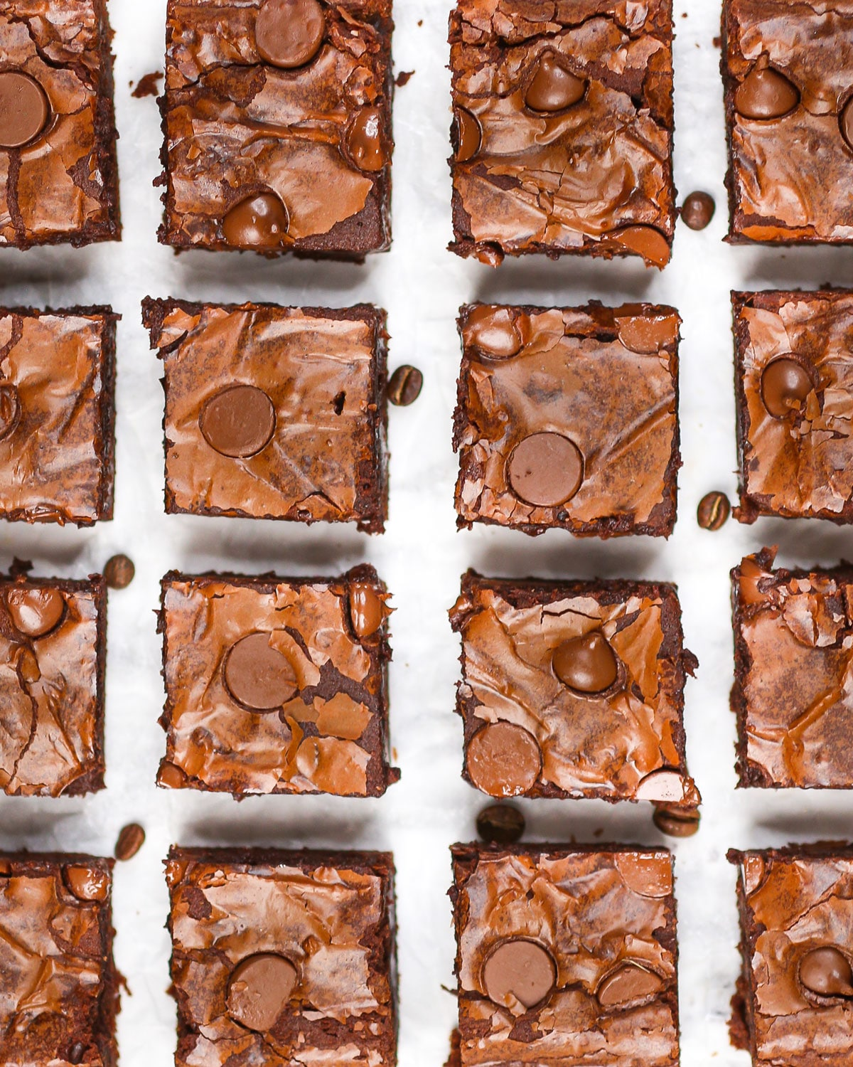 overhead photo of brownies sliced and arranged in a grid