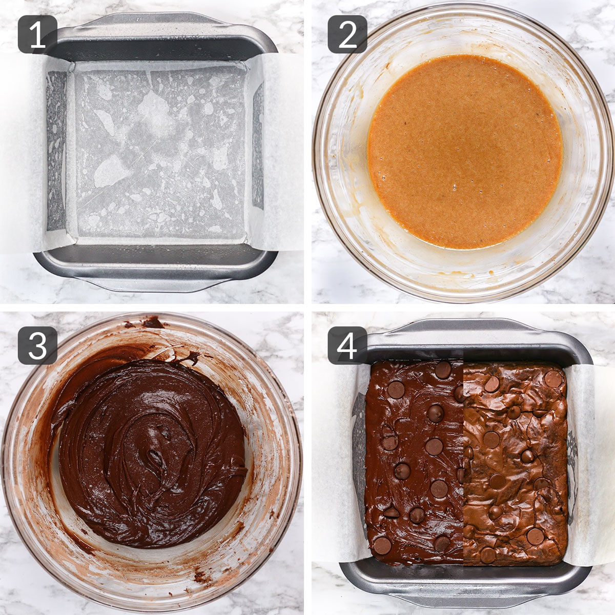 a step-by-step photo collage showing how to make fudge mocha brownies