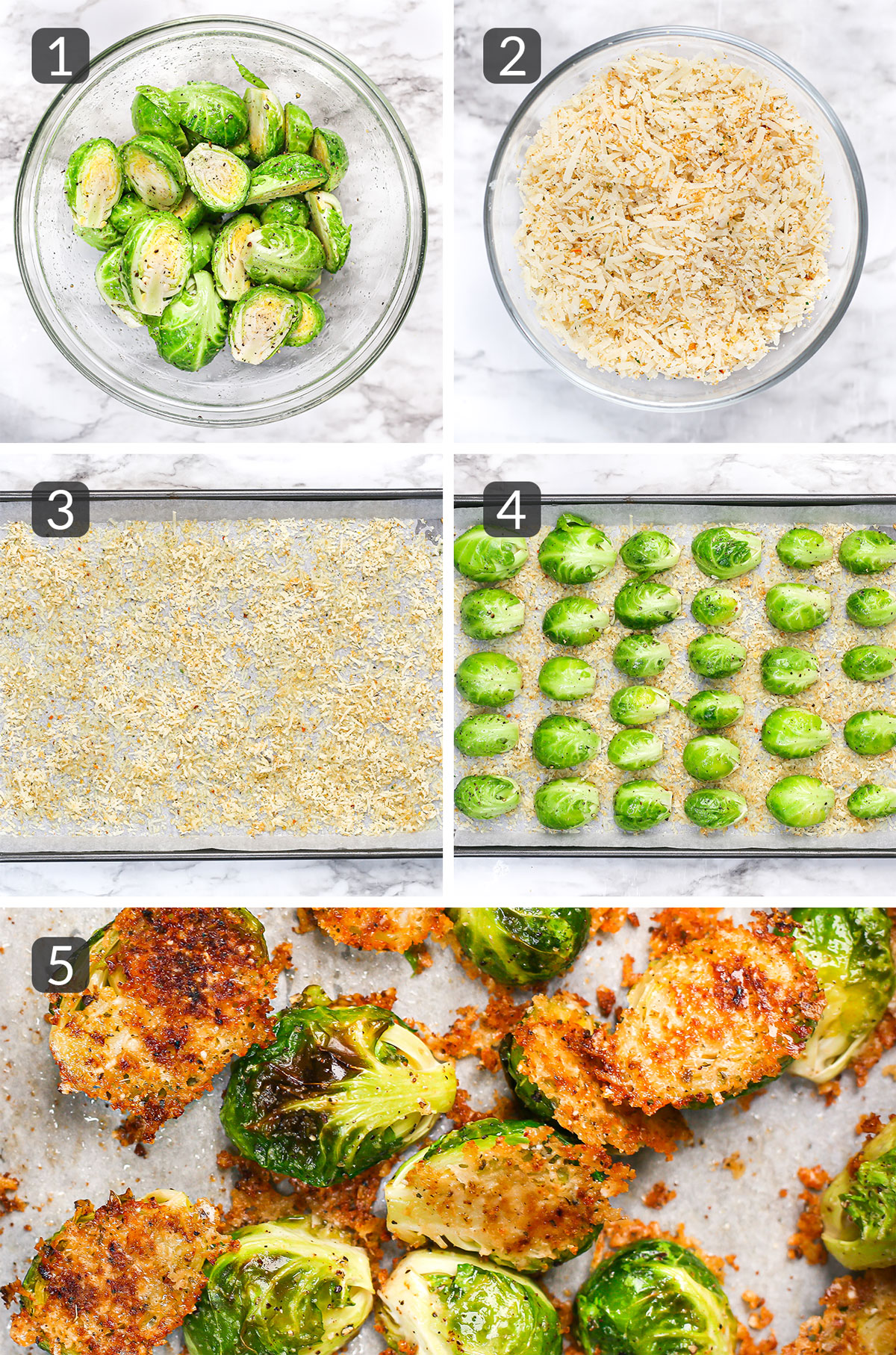 step-by-step photos showing how to make crispy parmesan roasted brussels sprouts