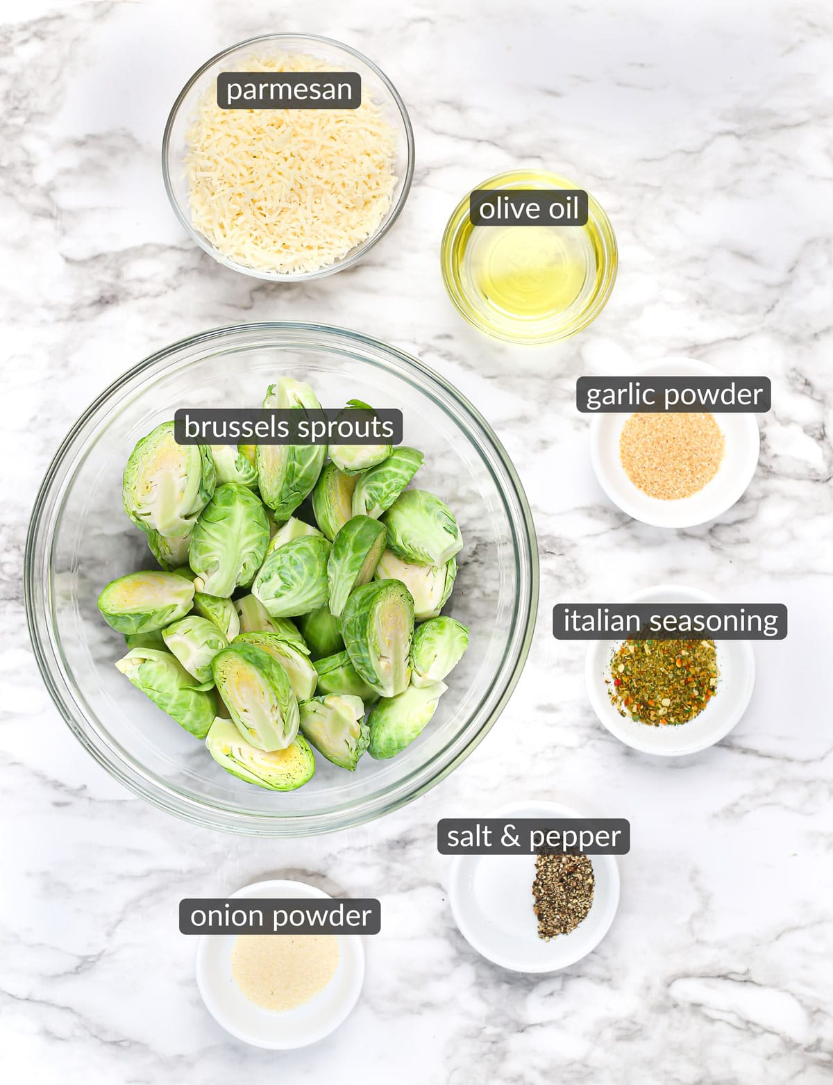 ingredients used to make crispy parmesan roasted brussels sprouts